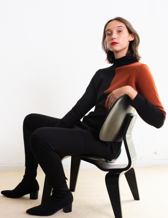 Alef Alef | אלף אלף - בגדי מעצבים | סוודר Rick שחור/ חמרה