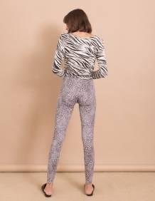 Alef Alef   אלף אלף - בגדי מעצבים   טייץ בייסיק ארוך/ אפור מנומר