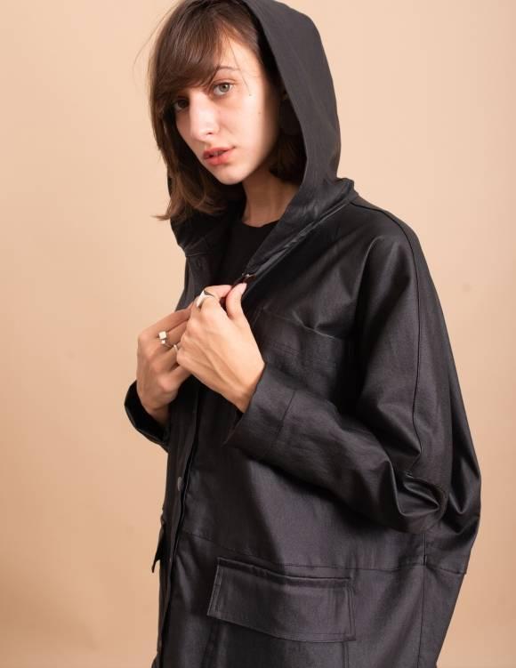Alef Alef | אלף אלף - בגדי מעצבים | מעיל Norman שחור מבריק
