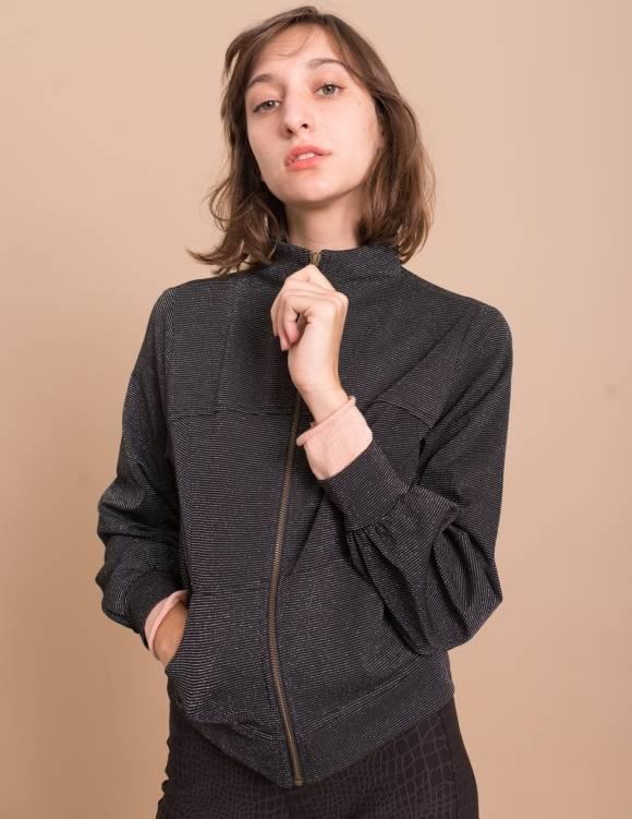 Alef Alef | אלף אלף - בגדי מעצבים | ג'קט Sofia שחור פס כסף