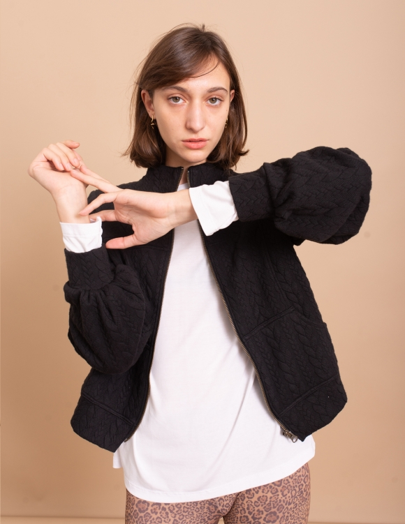Alef Alef | אלף אלף - בגדי מעצבים | ג'קט Sofia שחור צמות