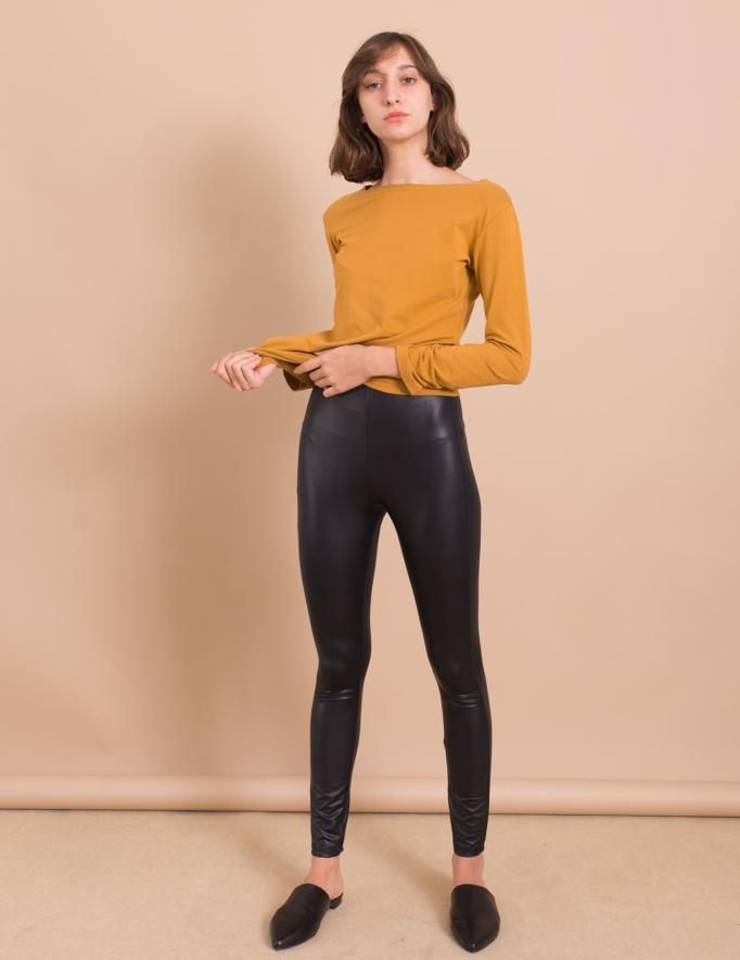 Alef Alef | אלף אלף - בגדי מעצבים | מכנסי Smith שחור מבריק