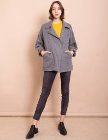 Alef Alef | אלף אלף - בגדי מעצבים | מעיל Eddie אפור טקסטורה