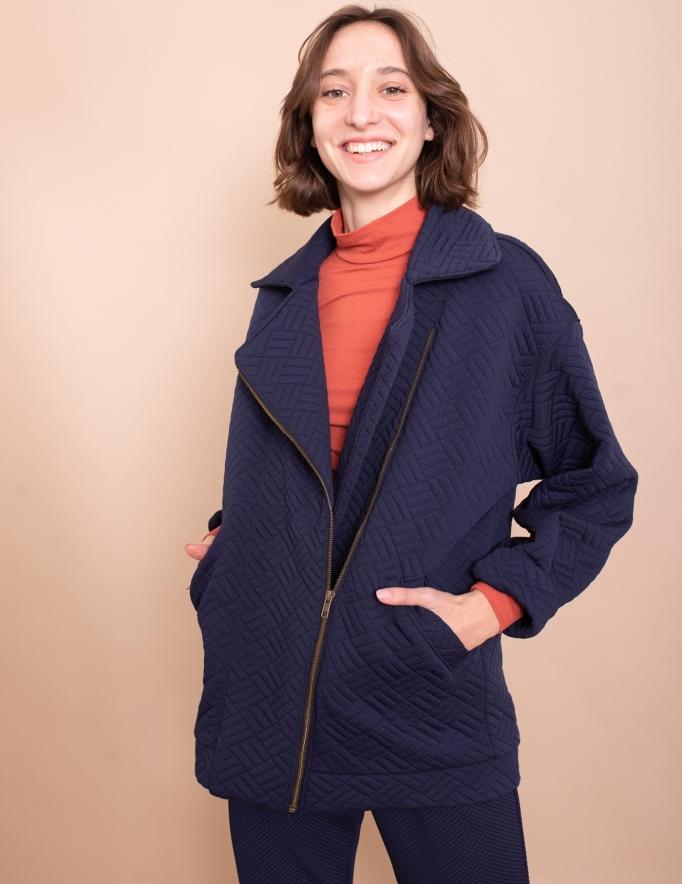 Alef Alef | אלף אלף - בגדי מעצבים | מעיל Eddie כחול קווילט