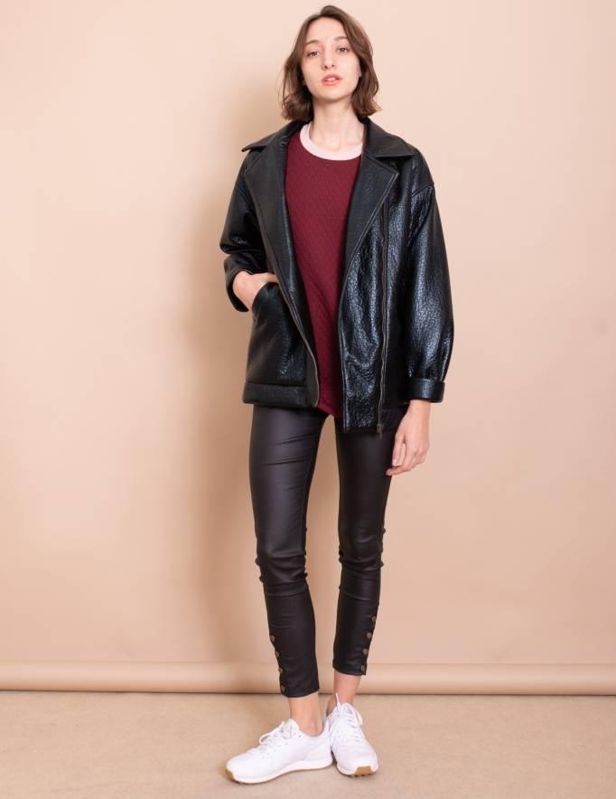 Alef Alef | אלף אלף - בגדי מעצבים | מעיל Eddie שחור מבריק