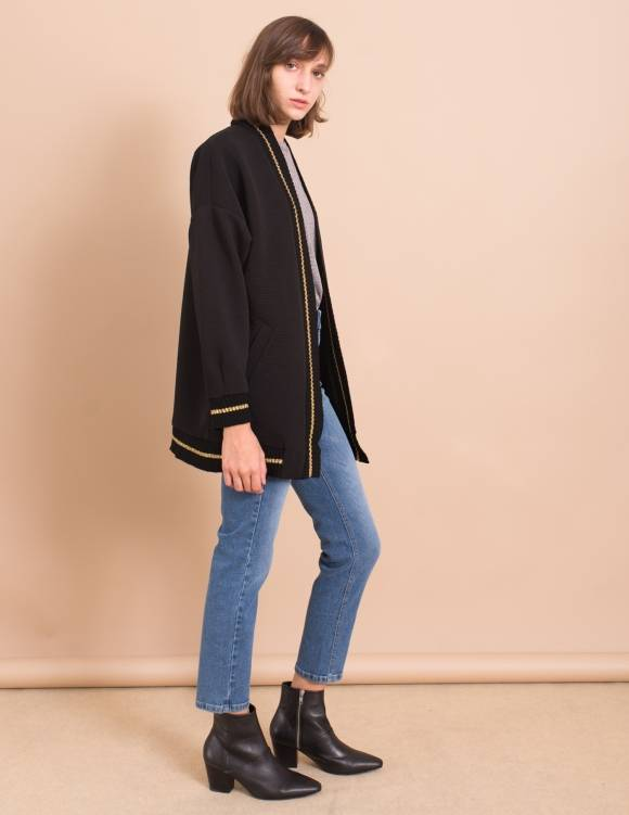 Alef Alef | אלף אלף - בגדי מעצבים | עליונית Elena שחור ריב עבה