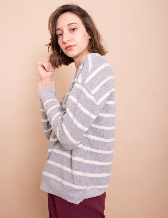 Alef Alef | אלף אלף - בגדי מעצבים | סווטשירט Michelle אפור פס לבן