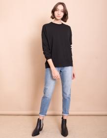 Alef Alef | אלף אלף - בגדי מעצבים | סווטשירט Michelle שחור ריב דק