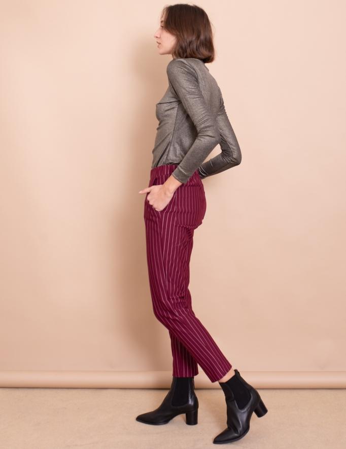 Alef Alef | אלף אלף - בגדי מעצבים | מכנסי Simone בורדו פס לבן