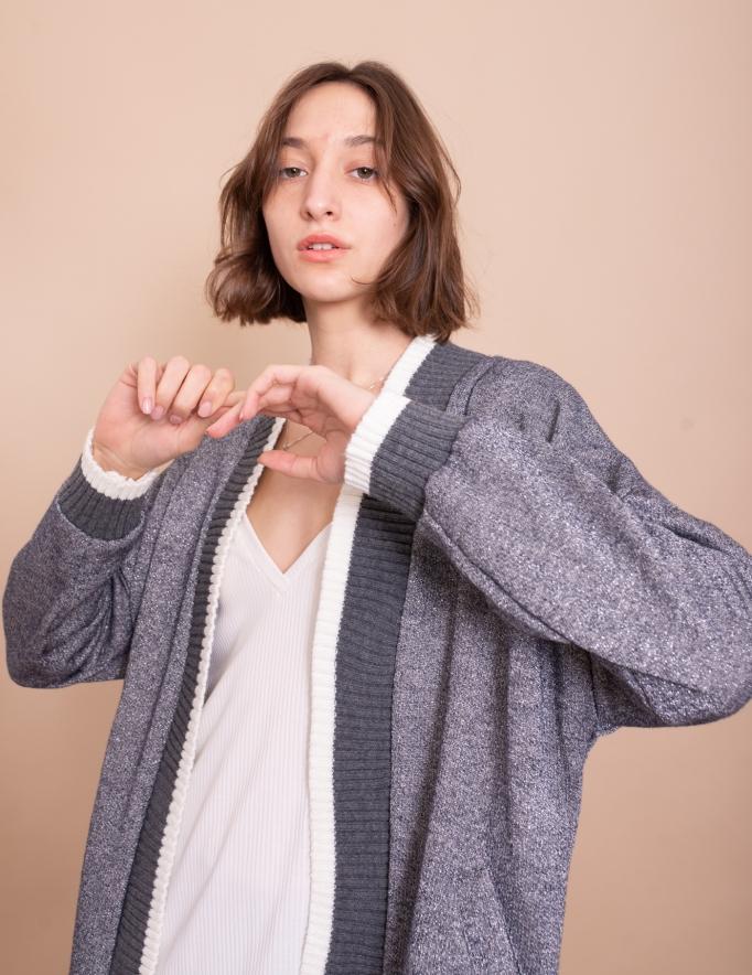 Alef Alef | אלף אלף - בגדי מעצבים | עליונית Elena אפור/ כסף