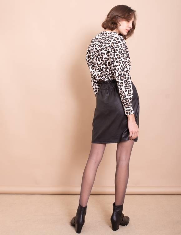 Alef Alef | אלף אלף - בגדי מעצבים | חצאית Gorgia שחור עור