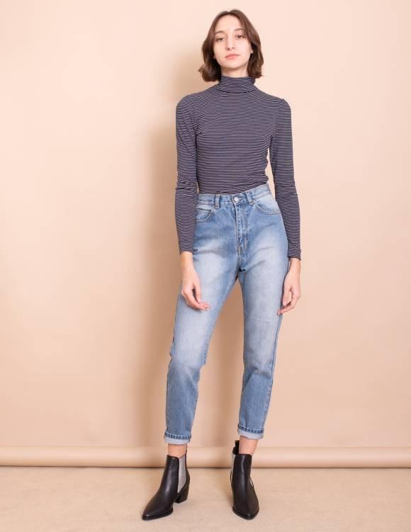 Alef Alef | אלף אלף - בגדי מעצבים | חולצת Amy כחול פס לבן