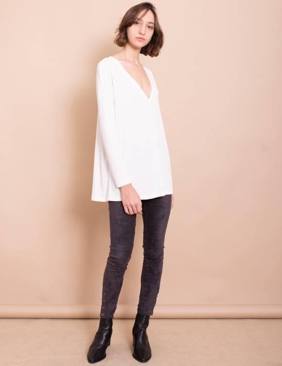 Alef Alef | אלף אלף - בגדי מעצבים | חולצת Gwen לבן ריב