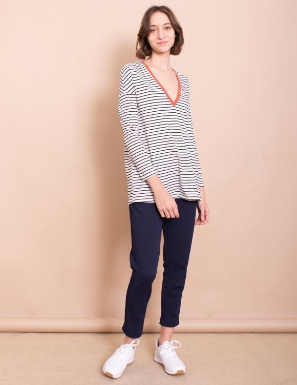 Alef Alef | אלף אלף - בגדי מעצבים | חולצת Gwen פסים חמרה
