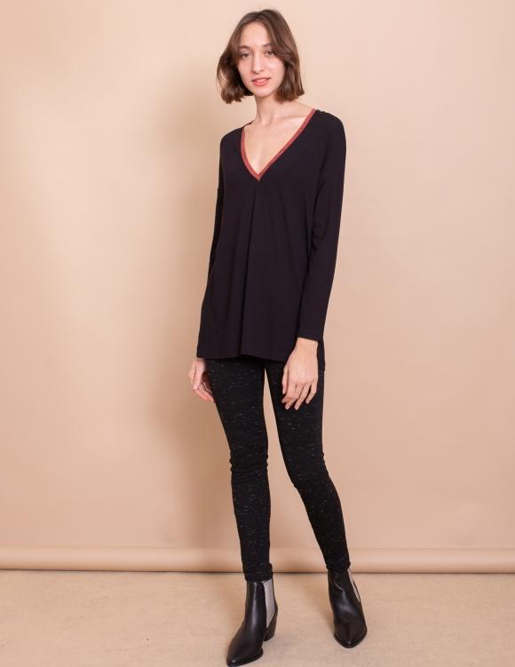 Alef Alef | אלף אלף - בגדי מעצבים | חולצת Gwen שחור חמרה