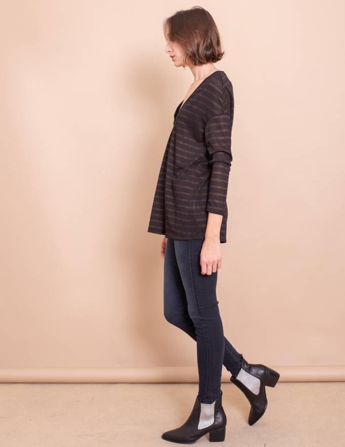 Alef Alef | אלף אלף - בגדי מעצבים | חולצת Gwen שחור פס ברונזה