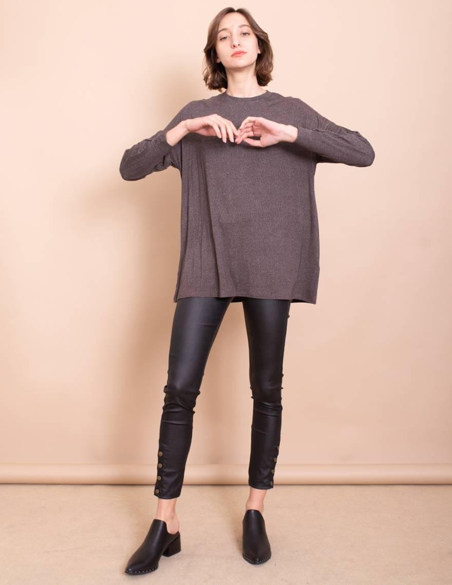Alef Alef   אלף אלף - בגדי מעצבים   חולצת Jil אפור/חום