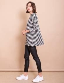Alef Alef | אלף אלף - בגדי מעצבים | חולצת Jil פסים שחור/לבן