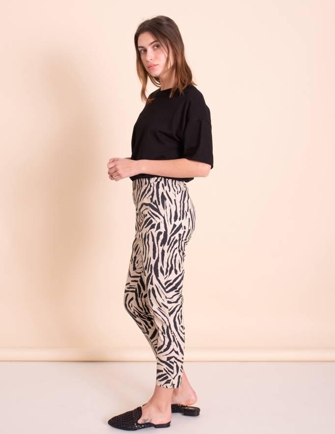 Alef Alef | אלף אלף - בגדי מעצבים | מכנסי Leon זברה / בז' שחור