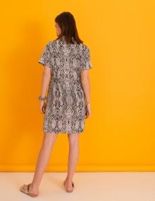 Alef Alef | אלף אלף - בגדי מעצבים | שמלת Wham! לבן דפוס אפור