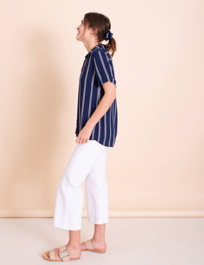 Alef Alef | אלף אלף - בגדי מעצבים | חולצת Lewis כחול פס לבן