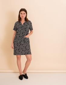 Alef Alef | אלף אלף - בגדי מעצבים | שמלת Wham! שחור הדפס לבן