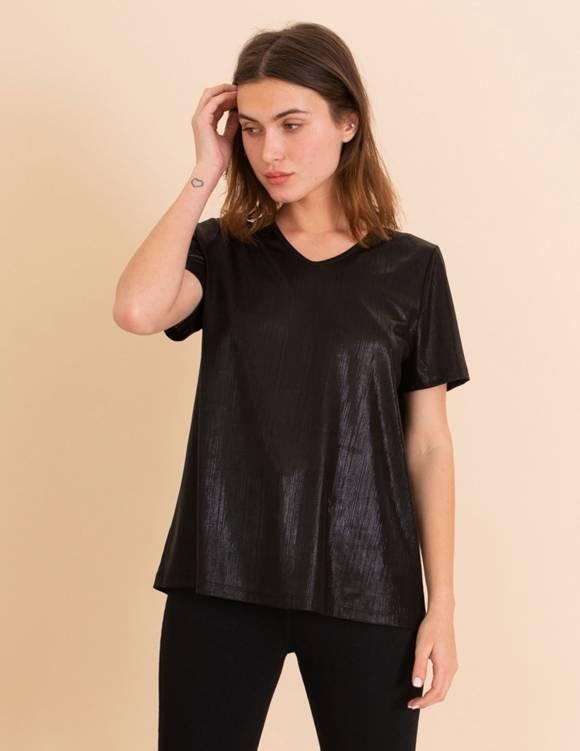 Alef Alef | אלף אלף - בגדי מעצבים | חולצת Britney שחור מבריק
