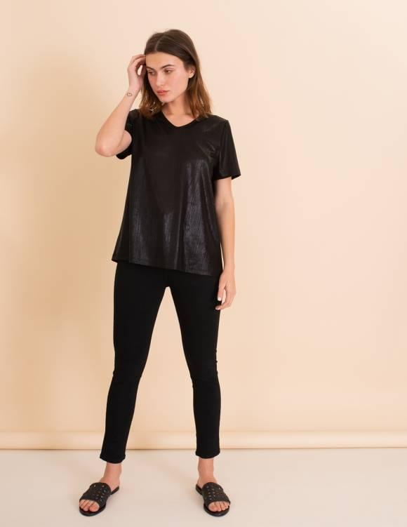 Alef Alef   אלף אלף - בגדי מעצבים   חולצת Britney שחור מבריק