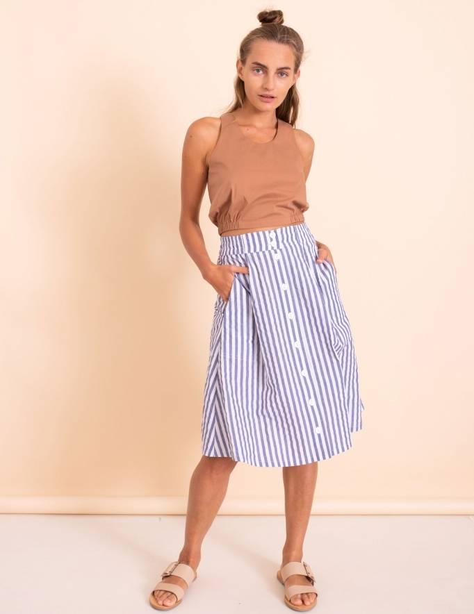 Alef Alef | אלף אלף - בגדי מעצבים | חצאית Jane פסים כחול לבן