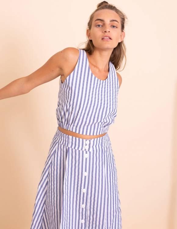 Alef Alef | אלף אלף - בגדי מעצבים | גופית Paula  פסים כחול לבן