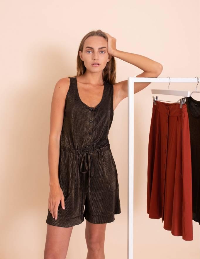 Alef Alef | אלף אלף - בגדי מעצבים | אוברול Air שחור/זהב