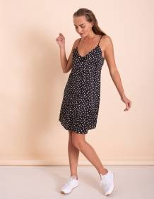 Alef Alef | אלף אלף - בגדי מעצבים | שמלת Duran שחור הדפס לבן