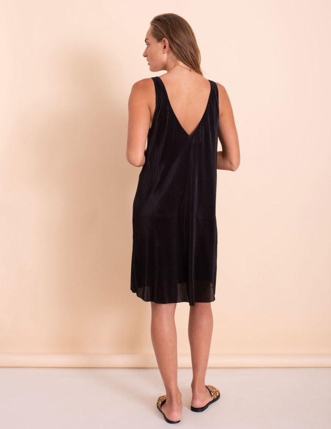 Alef Alef | אלף אלף - בגדי מעצבים | שמלת Kourtney שחור פליסה