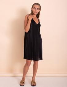 Alef Alef   אלף אלף - בגדי מעצבים   שמלת Kourtney שחור פליסה