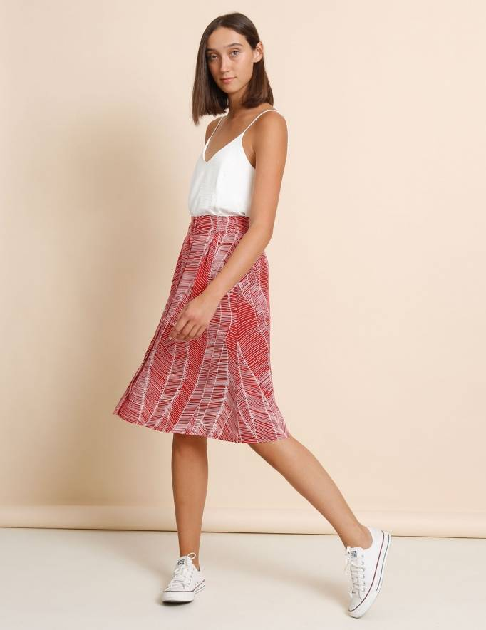 Alef Alef   אלף אלף - בגדי מעצבים   חצאית Jane אדום דפוס