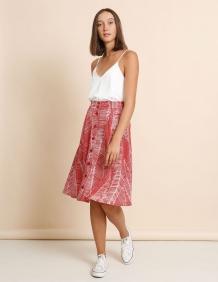 Alef Alef | אלף אלף - בגדי מעצבים | חצאית Jane אדום דפוס