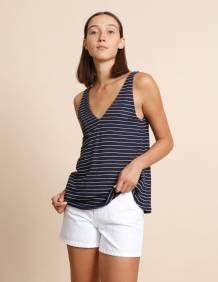 Alef Alef | אלף אלף - בגדי מעצבים | גופית Kurt כחול פס לבן