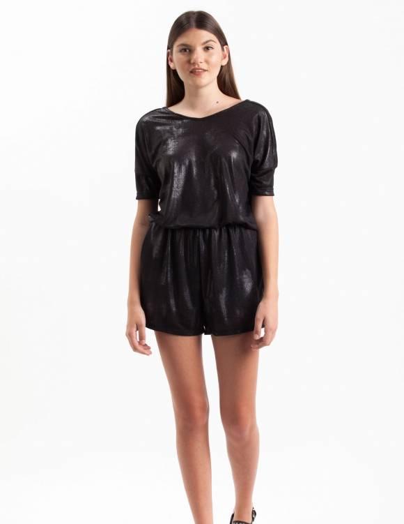 Alef Alef | אלף אלף - בגדי מעצבים | Sample#67 | אוברול Link שחור מבריק