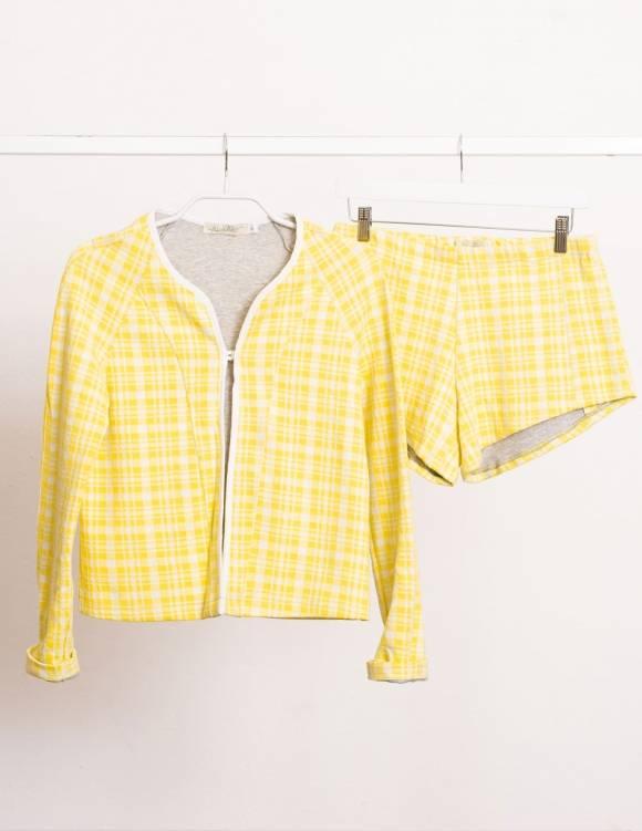 Alef Alef | אלף אלף - בגדי מעצבים | Sample#55 | ג'קט צהוב/לבן
