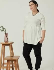 Alef Alef   אלף אלף - בגדי מעצבים   חולצת Ina   לבן מבריק