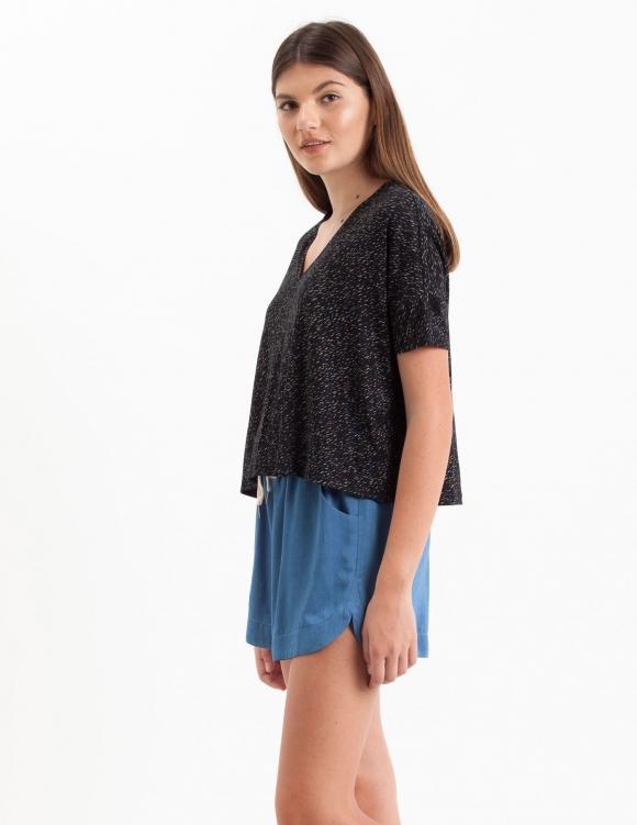 Alef Alef | אלף אלף - בגדי מעצבים | Sample#103 | חולצת Lipin שחור משיכות צבע