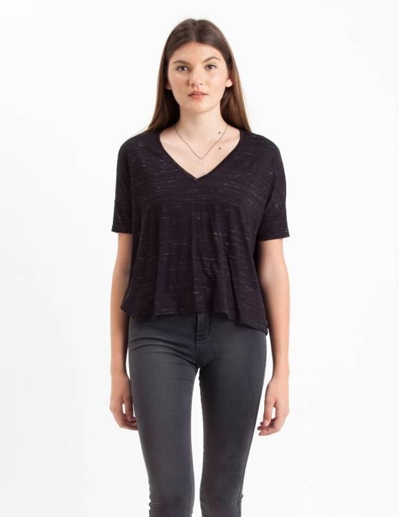 Alef Alef | אלף אלף - בגדי מעצבים | Sample#104 | חולצת Lipin שחור דפוס לבן