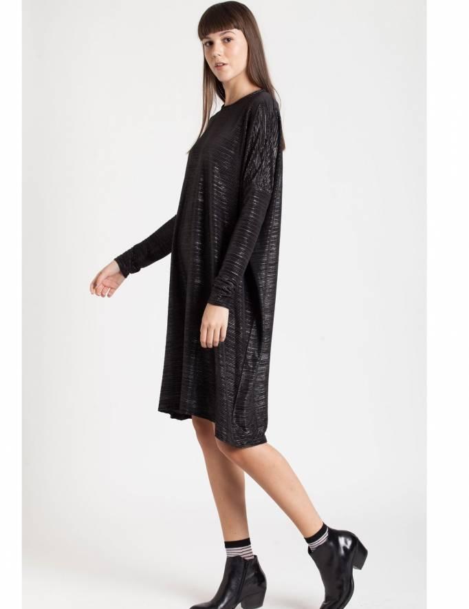 Alef Alef | אלף אלף - בגדי מעצבים | Sample#14 | שמלת Yael שחור מבריק