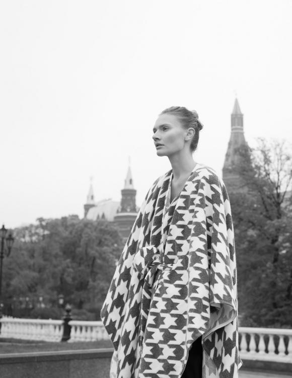 Alef Alef | אלף אלף - בגדי מעצבים | Sample#54 | שכמיה אפור/ לבן