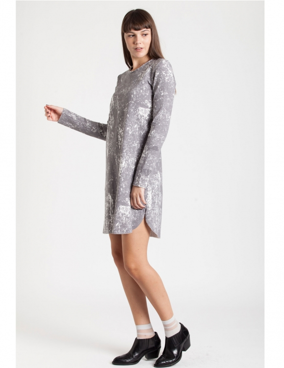 Alef Alef | אלף אלף - בגדי מעצבים | Sample#25 | שמלת Nude אפור/הדפס לבן