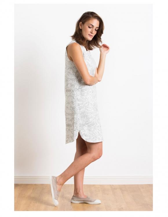Alef Alef | אלף אלף - בגדי מעצבים | Sample#47 | שמלת Montreol לבן דפוס אפור