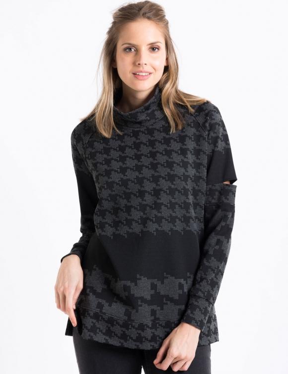 Alef Alef   אלף אלף - בגדי מעצבים   Sample#82   סוודר Y-M שחור/דפוס אפור