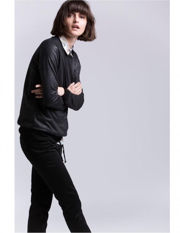 Alef Alef | אלף אלף - בגדי מעצבים | Sample#89 | סווטשירט דמוי עור