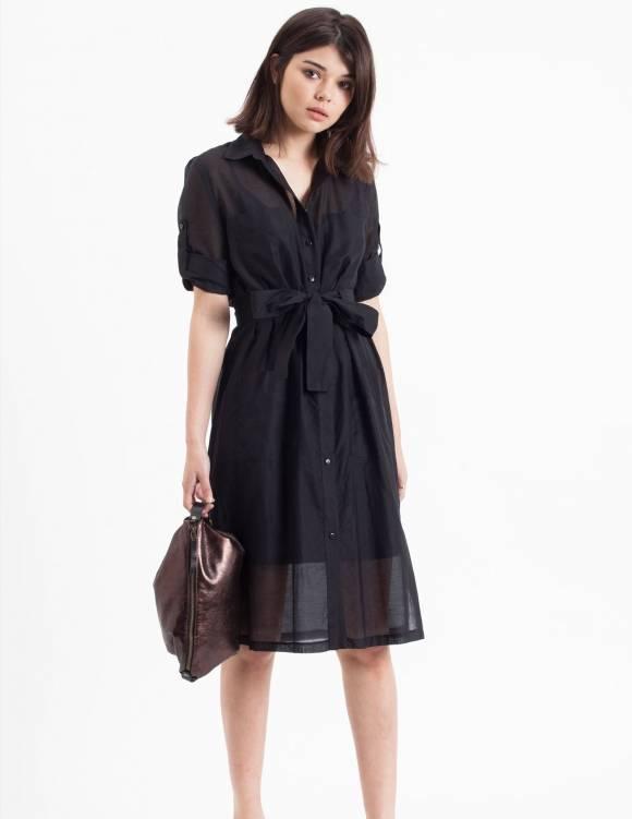 Alef Alef | אלף אלף - בגדי מעצבים | Sample#28 | שמלת Flock שחור שקוף