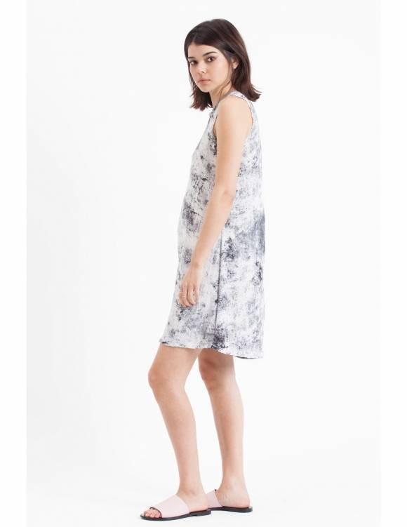 Alef Alef | אלף אלף - בגדי מעצבים | Sample#46 | שמלת Reef לבן דפוס אפור